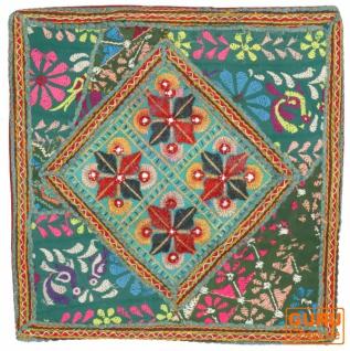 Patchwork Kissenhülle, Dekokissen Bezug aus Rajasthan, Einzelstück - Muster 23