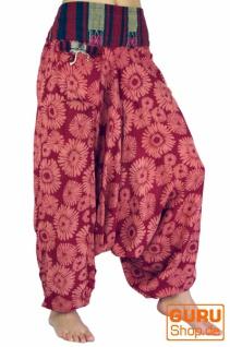 Bedruckte Haremshose, Pluderhose mit breitem gewebtem Bund - himbeerrot