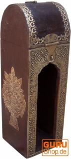 Weinflaschen Holz Box mit Messingverzierungen, Geschenkverpackung Weinflasche Geschenkbox, Weinbox, Wein Kiste - Modell 1