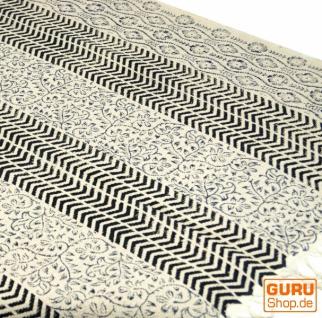 Hangewebter Blockdruck Teppich aus natur Baumwolle mit traditionellem Design - weiß/schwarz/blau Muster 21