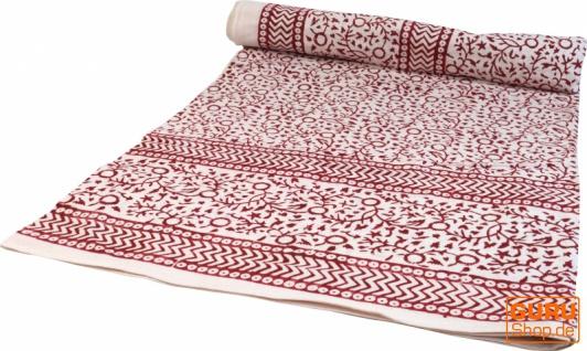 Blockdruck Tagesdecke, Bett & Sofaüberwurf, handgearbeiteter Wandbehang, Wandtuch - rot Blumen Ornament