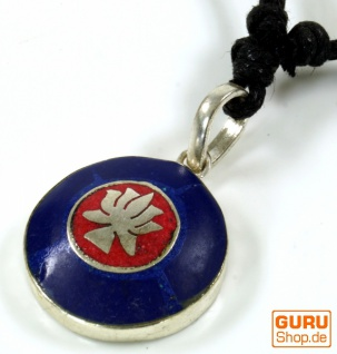 Tibetkette, Nepalschmuck, Amulett Lapis - Lotus