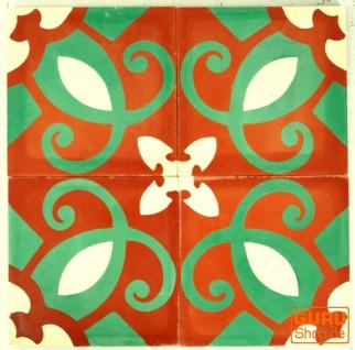 Zementfliesen Set, Ornament aus 4 Fliesen, rot - Design 3 - Vorschau 2
