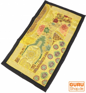 Indischer Wandteppich Patchwork Wandbehang, Tischläufer, Einzelstück 80*45 cm - Muster 13