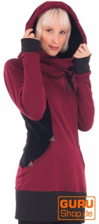 Langärmlige Tunika mit Kapuze aus Bio-Baumwolle / Chapati Design - burg brick