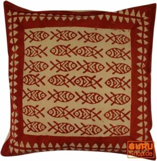Kissenbezug Blockdruck, Dekokissen Bezug, Kissenhülle Ethno, Traditionelle Herstellung - Muster 26