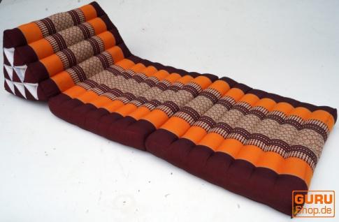 Thaikissen, Dreieckskissen, Kapok, Tagesbett mit 2 Auflagen - braun/orange - Vorschau 2