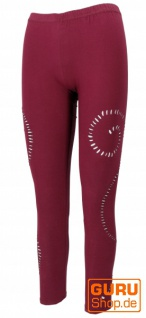 Psytrance Goa Damen Leggings, Yoga Leggings - bordeauxrot