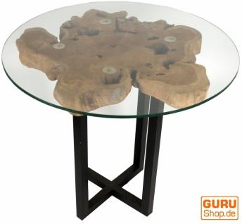Tisch, Eßtisch, Kaffeetisch, Beistelltisch, Couchtisch mit Baumscheibe und runder Glasplatte - Modell 7