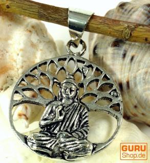 Amulett `Buddha unterm Bodhi Baum`, Ethno Kettenanhänger aus Messing - silber
