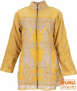 Boho Seidenbrokat Jacke aus Indien, Sareeseide Mantel, Einzelstück - Modell 6