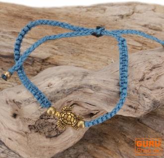 Ethno Schildkröten Perlenarmband, Makramee Armband - hellblau