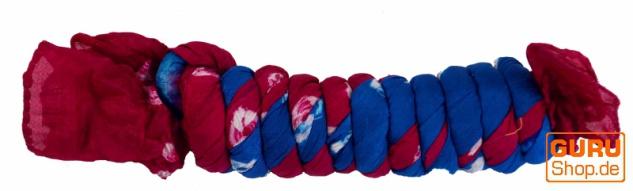 Batiktuch, Batikschal, Batiksarong - blau/rot - Vorschau 2
