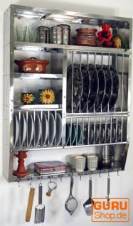 Edelstahl Küchenregal, Wandregal Miniküche mit Ablage für 16 Teller, 11 Untertassen, 11 Tassen - groß