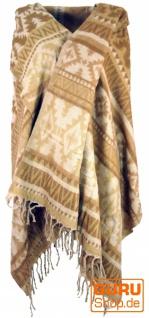 Weicher Pashmina Schal / Stola, Schultertuch - Maya Muster beige