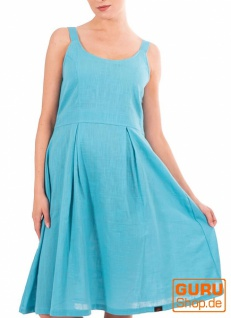 Knielanges Kleid, ärmellos aus Bio-Baumwolle / Chapati Design - aqua