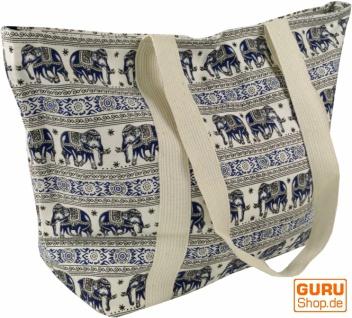 Einkaufstasche, Handtasche, Shopper mit Elefantendruck - weiß/blau