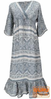 Maxikleid, weites Boho Saree Sommerkleid - taubenblau
