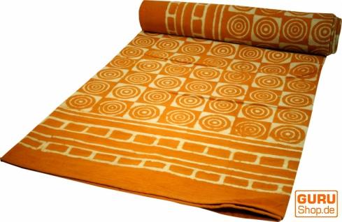 Blockdruck Tagesdecke, Bett & Sofaüberwurf, handgearbeiteter Wandbehang, Wandtuch - gelb retro