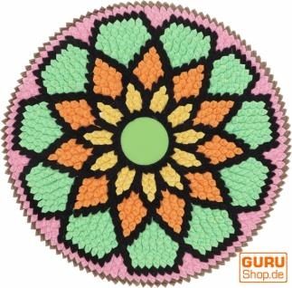 Runde upcycling Mandala Badmatte , Bodenmatte, Badvorleger - Motiv 11
