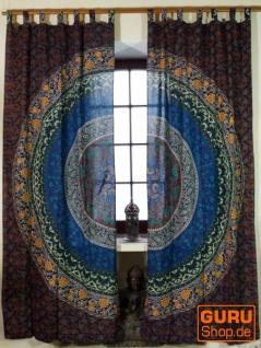 Vorhang, Gardine (1 Paar Vorhänge, Gardinen) mit Schlaufen, Mandala Motiv - blau/braun