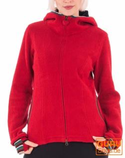 Jacke mit Kapuze aus Bio-Baumwolle / Chapati Design - red