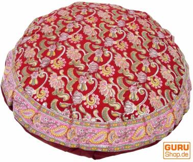 Runde Kissenbezug Blockdruck, Kissenhülle Ethno, Dekokissen Bezug mit traditionellem Design - Blumenmuster rot
