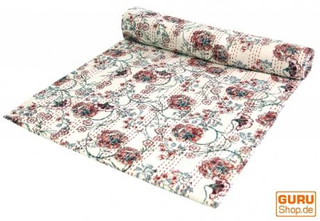 Baumwoll Steppdecke, Boho Tagesdecke, Bettüberwurf mit Blümchen Muster - Design 3