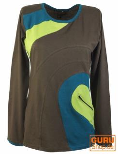 Langarmshirt Hippie chic, Goa Shirt mit Tasche - braun