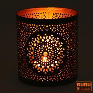 Runde Metall Windlicht, Teelichtlampe - Motiv 2