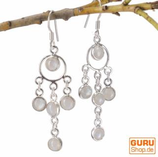 Indische Silberohrringe im Bollywood Style, Boho Ohrringe - Mondstein