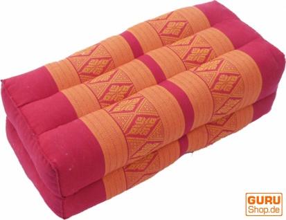 Meditationskissen, Thai Nackenstütze eckig mit Kapok - rot/orange