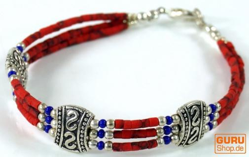 Wunderschöner Tibet Ethnoschmuck aus kleinen Perlen aus Koralle, Lapislazulit und Metall. Modell 6