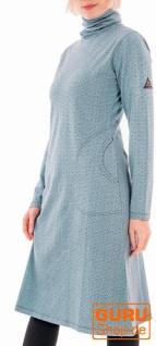 Langärmliges knielanges Kleid aus Bio-Baumwolle / Chapati Design - aqua brick