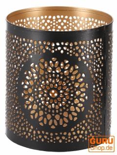 Rundes Metall Windlicht, Teelichtlampe - Motiv 2 - Vorschau 3