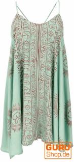 Weites Minikleid Boho chic, langes Top, kurzes Kleid, Benares Longtop - aqua