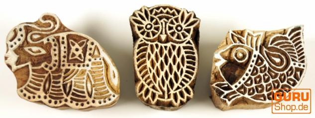 Indischer Textilstempel, Stoffdruckstempel, Blaudruck Stempel, Holz Model - Set 2