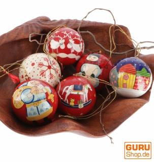 Upcyceling Weihnachtskugel Set aus Pappmachee, Handbemalter Christbaumschmuck, Kaschmirkugeln - nordisch