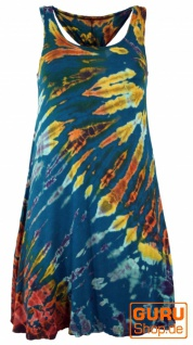 Batik Minikleid, Boho Tank-Kleid - petrol