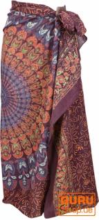 Leichter Mandala Pareo, Sarong, handbedrucktes Baumwolltuch, Wandbehang - Modell 12