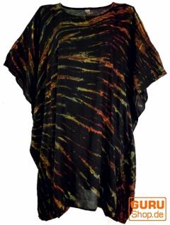 Batik Kaftan, Ibiza-Style Tunika, Boho Bluse, Damen Maxibluse - schwarz