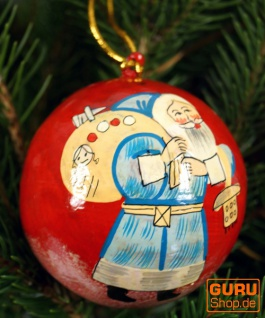 Upcyceling Weihnachtskugel aus Pappmachee, Handbemalter Christbaumschmuck, Kaschmirkugeln - Muster 29