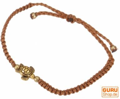 Ethno Schildkröten Perlenarmband, Makramee Armband - braun