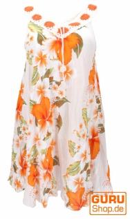 Plus Size Boho Minikleid, weites Sommerkleid, Häkelkleid, Strandkleid, Damen Krinkelkleid Übergröße - weiß/orange