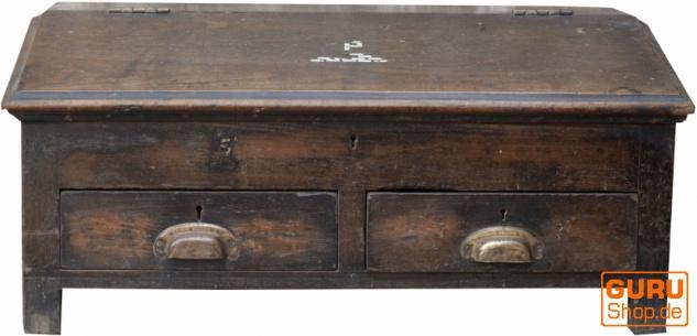 Schreibpult, Truhe aus Vollholz mit 2 Schubladen - Modell 8