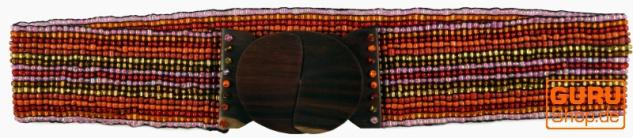 Perlen Gürtel Hippie Gürtel mit Holzverschluß