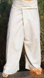 Baumwoll-Fischerhose, Wickelhose Yogahose aus Nepal - naturweiß