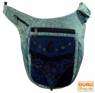 Goa Gürteltasche, Bauchtasche, Patchwork Sidebag - blau