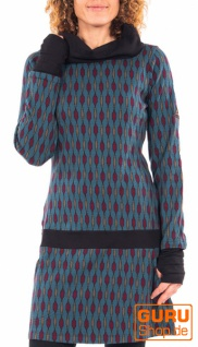 Langärmlige Tunika aus Bio-Baumwolle / Chapati Design - blue geo