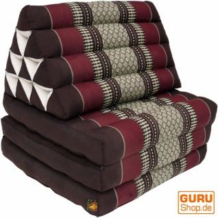 Thaikissen, Dreieckskissen, Kapok, Tagesbett mit 3 Auflagen - braun/weinrot